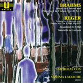 Brahms: Clarinet Sonata;  Reger / Cox, Latarche