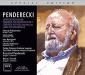 Penderecki: Capriccio for violin; Concerto for cello No. 1; Concerto for viola (cello); Largo for cello / Patrycja Piekutowska, violin; Jakob Spahn, cello; Ivan Monighetti, Claudio Bohórquez, cello