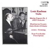 Martinu, Khachaturian: Violin Concertos / Louis Kaufman