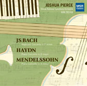 J.S. Bach: Keyboard Concerto No. 5 in F minor; Haydn: Piano Concerto in D major; Mendelssohn: Piano Concerto in A minor / Joshua Pierce, piano; Slovak NSO, Kirk Trevor