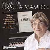 Music of Ursula Mamlok Vol 1 - Woodwind Quintet, Oboe Concerto, etc / Yoo, Ohlsson, et al