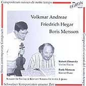Andreae, Hegar, Mersson: Violin Sonatas / Zimansky, Mersson