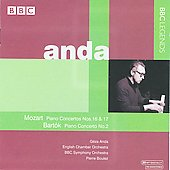 Mozart: Piano Concertos no 16 & 17;  Bartók: Piano Concerto no 2 / Anda, Boulez, English Chamber Orchestra, BBC SO