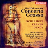 20th Century Concerto Grosso - works by D'Indy, Krenek and Schulhoff / Maria Prunz, piano; Karl Heinz Schutz, flute; Christoph Konez, violin
