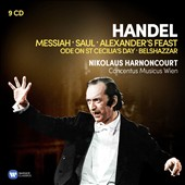 Handel: Messiah; Saul; Alexander's Feast; Ode on St. Cecilia's Day; Belshazzar / Gale, Lipovsek, Hollweg, Fischer-Dieskau, Rolfe Johnson, Esswood, Varady, Tear, Palmer. Harnoncourt (rec. 1976-85) [9 CDs]
