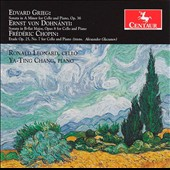 Grieg: Cello Sonata, Op. 36; Dohnanyi: Cello Sonata, Op. 8; Chopin: Etude, Op. 25/7 / Ronald Leonard, cello; Ya-Ting Chang, piano