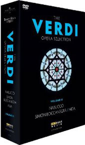 Verdi Opera Selection, Vol. 2 - Aida with Pavarotti & Chiara; Nabucco with Leo Nucci; Simon Baccanegra with Domingo / Guleghina; Harteros [4 DVD]