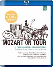 Mozart on Tour - 14 Piano Concertos & 13 Documentaries tracing Mozart's travels through Europe / Ashkenazy, Frager, Kocsis, de Larrocha, Lupu, Previn, Uchida et al. [Blu-ray, over 12 hours (SD)]