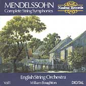 Mendelssohn: Complete String Symphonies Vol 1 / Boughton