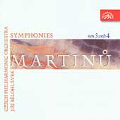 Martinu: Symphonies no 3 & 4 / Belohl&#224;vek, Czech PO