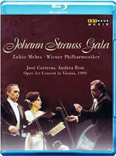 Johann Strauss Gala, open air concert in Vienna, 1999 - an evening of waltzes, arias & duets / José Carreras, Andrea Rost. Vienna PO, Mehta [Blu-ray]