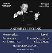 Mussorgsky: Pictures at an Exhibition;  Ravel: Piano Concerto, La Valse / Cluytens, Haas, et al