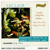 Leclair: Violin Concertos Vol 1 / Simon Standage