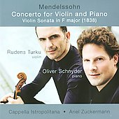Mendelssohn: Concerto For Violin & Piano