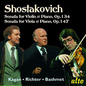 Shostakovich: Sonata for Violin & Piano, Op. 134; Sonata for Viola & Piano, Op. 147 / Oleg Kagan, violin; Yuri Bashmet, viola;  Sviatoslav Richter, piano;