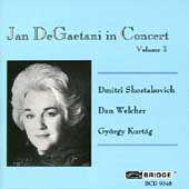 Jan DeGaetani in Concert Vol 3 - Shostakovich, Welcher et al