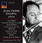 Jean-Pierre Rampal Plays Schumann: 3 Romances; Debussy: Sonata for flute, viola & harp; Ravel; Schubert (studio, 1951, 58)