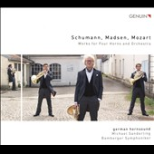 Works for 4 horns & orchestra: Schumann: Concertpiece in F major; Trygve Madsen (b.1940): Sinfonia Concertante; L. Mozart: Sinfonia di caccia in G major / German Hornsound
