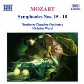 Mozart: Symphonies nos 15-18 / Ward, Northern CO