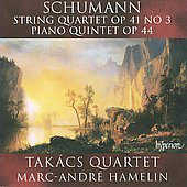 Schumann: String Quartet Op. 41 no 3;  Piano Quintet / Marc-Andr&eacute; Hamelin, Tak&aacute;cs Quartet