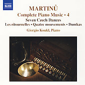 Martinu: Complete Piano Music, Vol 4 / Giorgio Koukl