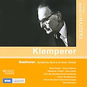 Beethoven: Symphony no 9, Op. 125 / Klemperer, Stader, Hoffman, Cologne Radio SO, et al