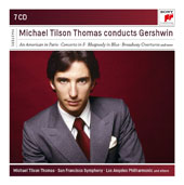 Gershwin: An American in Paris, Concerto in F, Rhapsody in Blue, Broadway Overtures / Michael Tilson Thomas, piano; San Francisco SO, Los Angeles PO, Michael Tilson Thomas