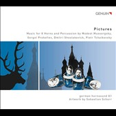 Pictures - Music for 8 horns & percussion by Mussorgsky, Prokofiev, Shostakovich and Tchaikovsky / German Hornsound 8.1; Simon Rossler, percussion