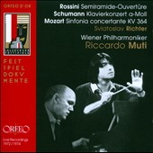 Rossini: Semiramide, overture; Schumann: Piano Concerto; Mozart: Sinfonia concertante K.364 / Sviatoslav Richter, piano. Muti, Vienna PO