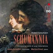 'Schumannia': Schumann Instrumental Works & Song Transcriptions for cello & piano incl. Fantasiestucke, Op. 73; Romances, Op. 94 / Guido Schiefen, cello; Markus Kreul, piano