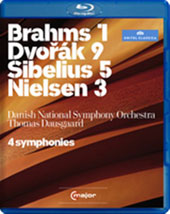 4 Symphonies - Dausgaard conducts Brahms: 1; Dvorak: 9; Sibelius: 5; Nielsen: 3 / Danish National SO [Blu-Ray]