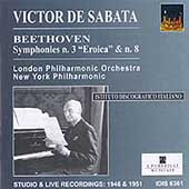 Beethoven: Symphonies no 3 & 8 / De Sabata, NY Philharmonic