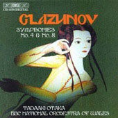 Glazunov: Symphonies no 4 & 8 / Otaka, BBC Wales NSO
